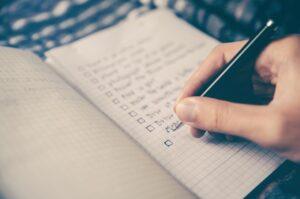 checklist, goals, box